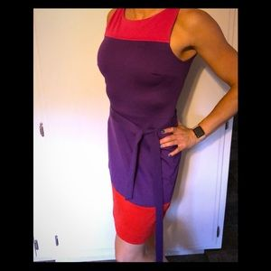 Elle colorblock belted sheath dress